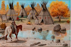 """""""Teepee/Indian Village,"""" Oil on Wood Panel signed by Charles Damrow"""