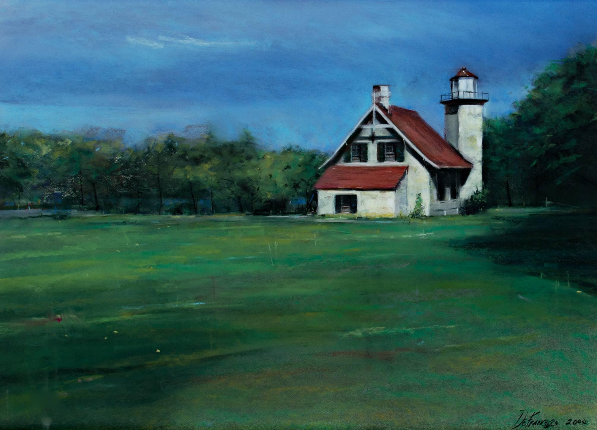 """Light House Eagle Bluff Peninsula State Park,"" Pastel signed by M. DeFrancesco"