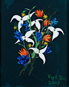 """White & Blue Flowers on Dark Green Background,"" Acrylic signed by Reginald Gee"