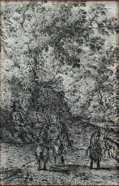 """""""Les Cheves (The Goats),"""" Etching Landscape by Claude Gelle Le Lorrain"""