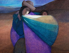 """""""Mother Carrying Her Baby,"""" Oil on Jute signed by Ernesto Gutierrez"""