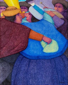 """El Baile (The Dance),"" Oil on Jute signed by Ernesto Gutierrez"