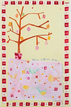 """Five Little Birdies Hidden in the Flowers KMH 37"" Mixed Media signed by Hartley"