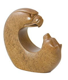 """""""Eagle & Bear,"""" Carved Yellow Speckled Brazilian Soapstone signed by Leroy Henry"""