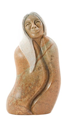"""""""Earth Sister,"""" Carved Yellow Brazilian Soapstone signed by Loreene Henry"""