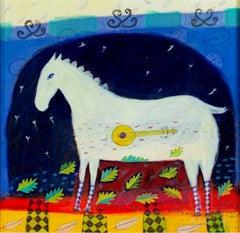 """Song 115"" Acrylic on Paper Expressionist Horse & Bango signed by Karen Hopeting"