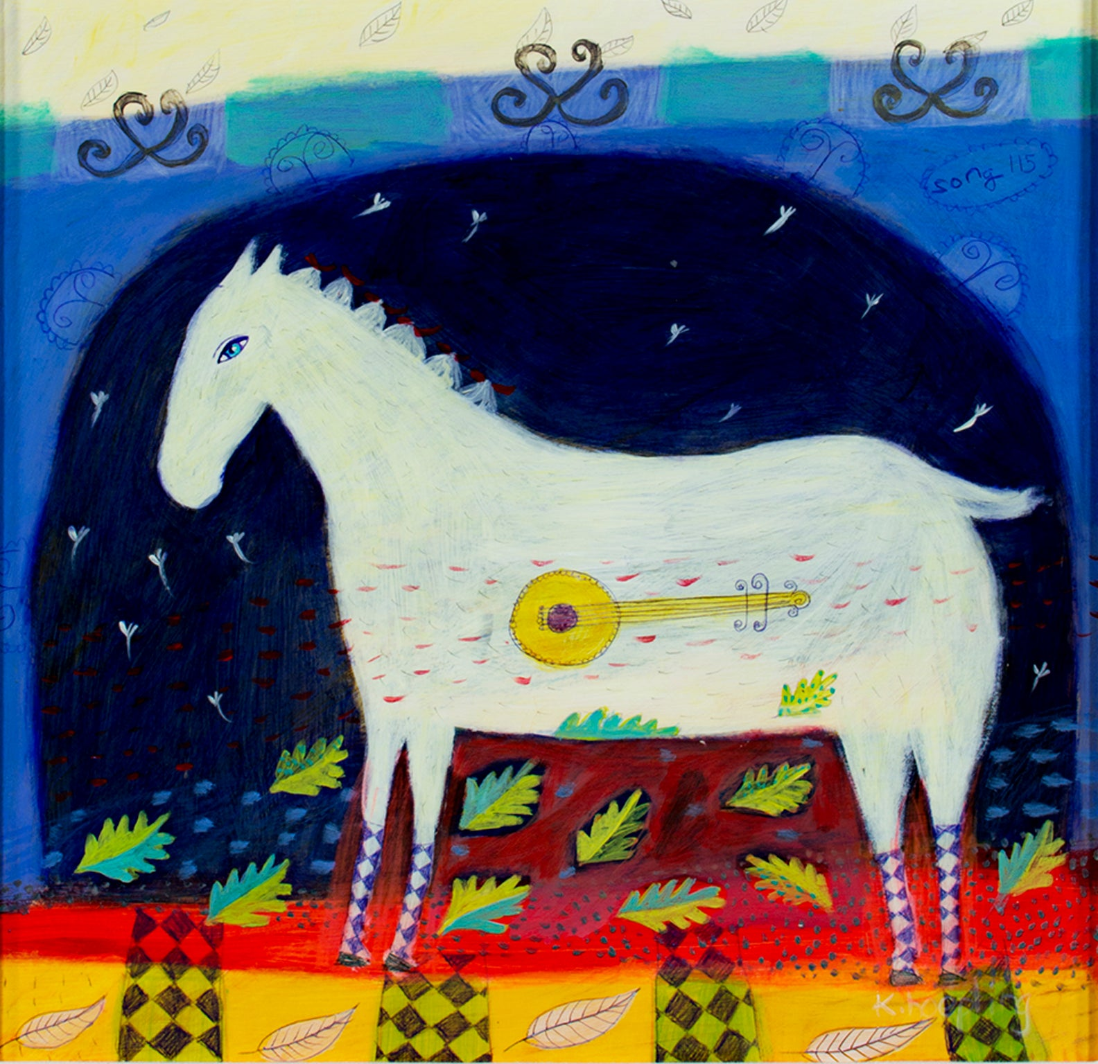 Karen Hoepting Song 115 Acrylic On Paper Expressionist Horse And Bango Signed By Karen Hopeting For Sale At 1stdibs