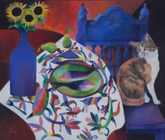 """El Gato,"" Oil on Canvas signed by Paco Huacuja"