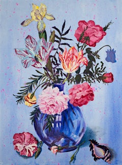 """""""Assortment of Flowers in Blue Vase,"""" Mixed Media signed by Catherine Holmburg"""