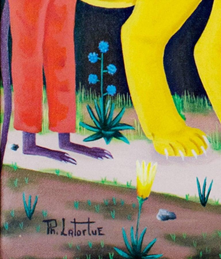 Mr. & Mrs. Lion - Brown Animal Painting by Philton Latortue