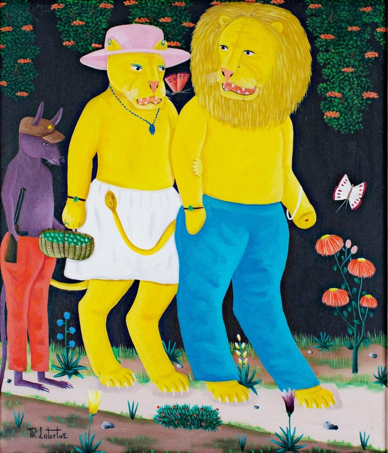 Philton Latortue Animal Painting - Mr. & Mrs. Lion