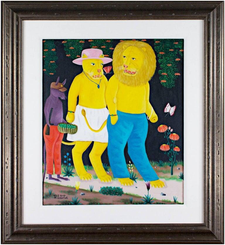 Mr. & Mrs. Lion - Painting by Philton Latortue