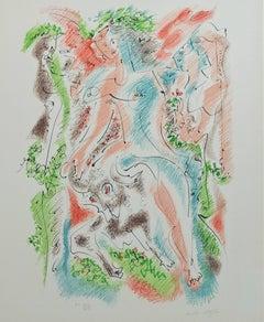 """""""Bacchanale from Je Reve (I Dream) Portfolio,"""" Original Color Lithograph signed"""