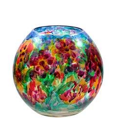 Round Vase--Summer Flowers II