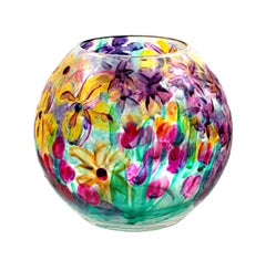 Round Vase--Red Tulips & Purple Irises