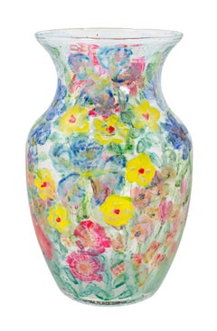 """Vase-Summer Flowers I,"" Colorful Hand Painted Glass signed by David Barnett"