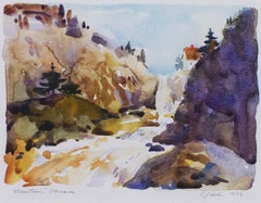 """Mountain Stream,"" Autumnal Watercolor Landscape signed by Craig Lueck"