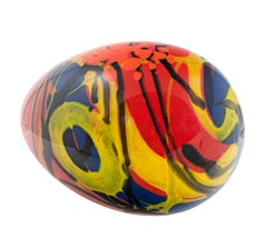 """Red Egg,"" Hand Blow Glass signed by Ioan Nemtoi"