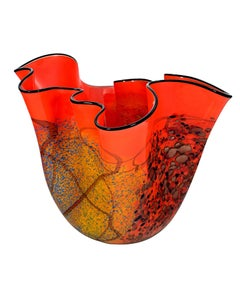 """Orange Wavy Vase Copper Iridescent,"" Hand Blown Glass signed by Ioan Nemtoi"