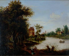 """A Dutch Canal,"" Oil on Canvas by the School of Aert van der Neer"