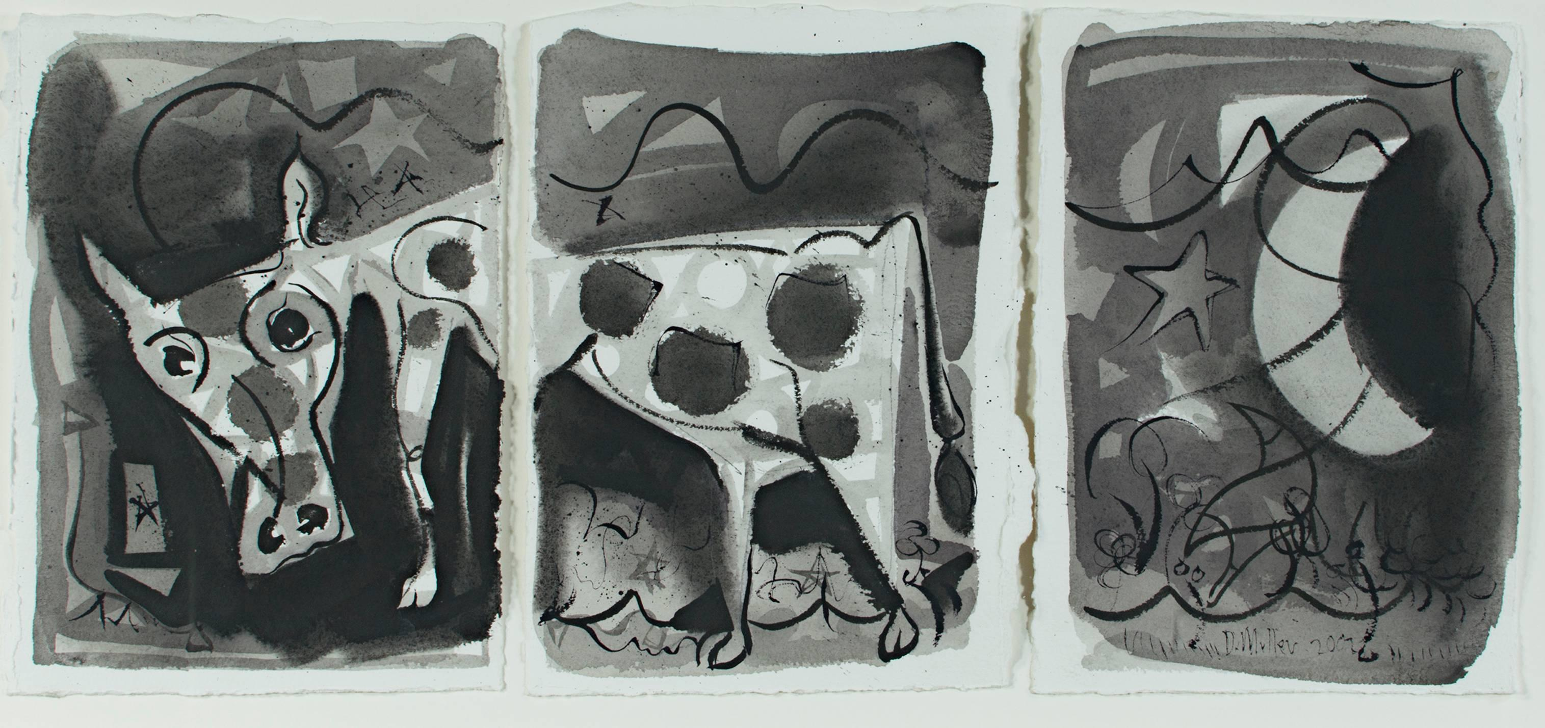 """""""Kind of Like a Cow,"""" Ink on Paper signed by Dan Muller"""