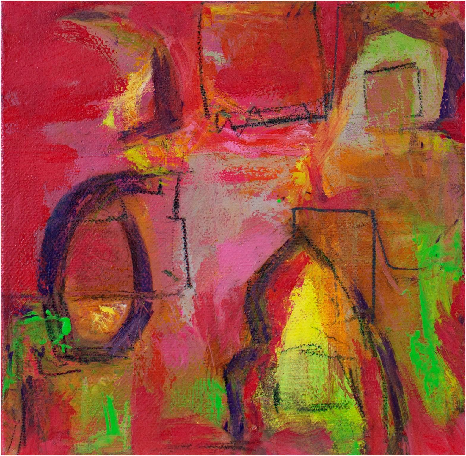 """""""Jam Session I,"""" Oil on Canvas Abstract signed on Verso by Alayna Rose"""