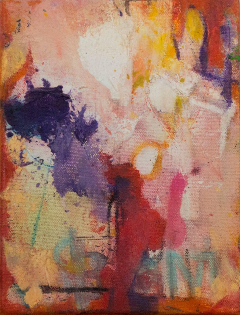 """""""Pace II"""" is an original oil painting on canvas by Alayna Rose. The artist signed the painting on the side. This painting features a variety of abstract marks in green, yellow, purple, red, and white. The David Barnett Gallery has the other two"""