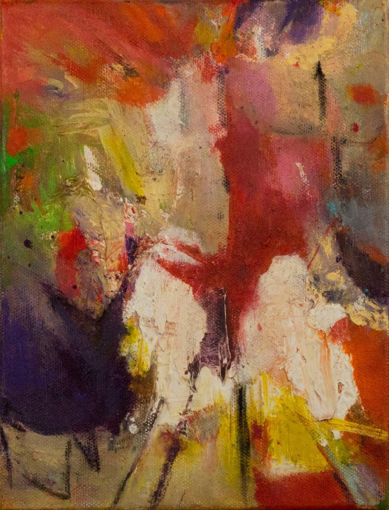 """""""Pace I"""" is an original oil painting on canvas by Alayna Rose. The artist signed the painting on the side. This painting features a variety of abstract marks in green, yellow, purple, red, and white. The David Barnett Gallery has the other two"""