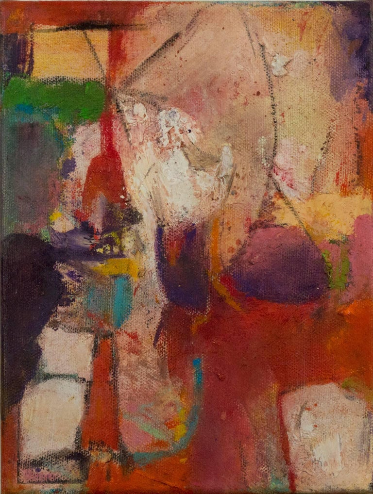 """""""Pace III"""" is an original oil painting on canvas by Alayna Rose. The artist signed the painting on the side. This painting features a variety of abstract marks in green, yellow, purple, red, and white. The David Barnett Gallery has the other two"""