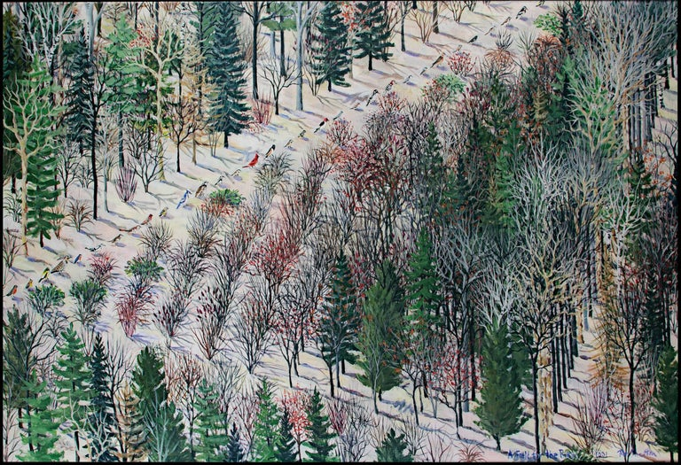 """""""A Field for the Birds"""" is an original acrylic painting on canvas by Tom Shelton. The artist signed the painting in the lower right. This painting depicts a diagonal line of birds cutting through an orderly forest. The painting has two coats of"""