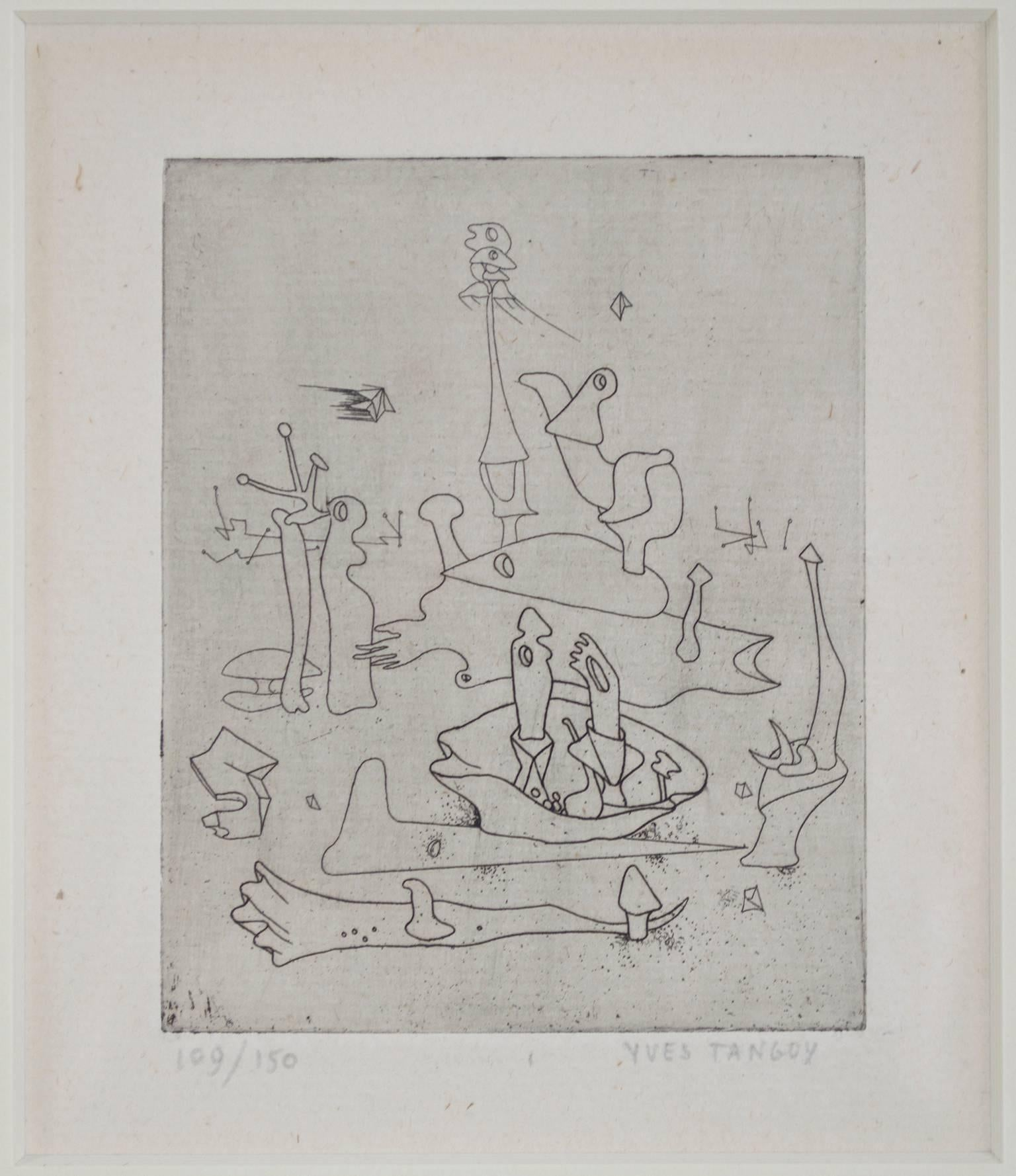 """""""Solidarity,"""" Etching of an Surrealist Landscape signed by Yves Tanguy"""