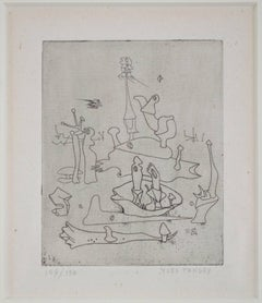 """Solidarity,"" Etching of an Surrealist Landscape signed by Yves Tanguy"