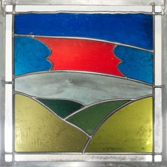 """Sunset After Storm,"" Stain Glass Window after a Woodcut by Carol Summers"