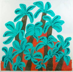 """Hill of Palms,"" Tropical Color Woodcut signed by Carol Summer"