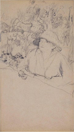 """Femme Assise a Table (Woman Seated at a Table)"" Pencil initialed Vuillard"