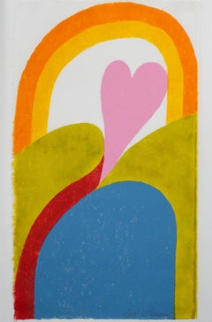 """Heartrise,"" Colorful Woodcut signed by Carol Summers"
