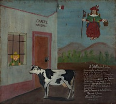 """Retablo Exvotos (Peasant Released from Jail by Cow),"" Oil on Tin signed"