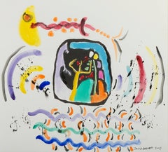 """Sound,"" Mixed Media Woodcut Homage to Kandinsky signed by David Barnett"