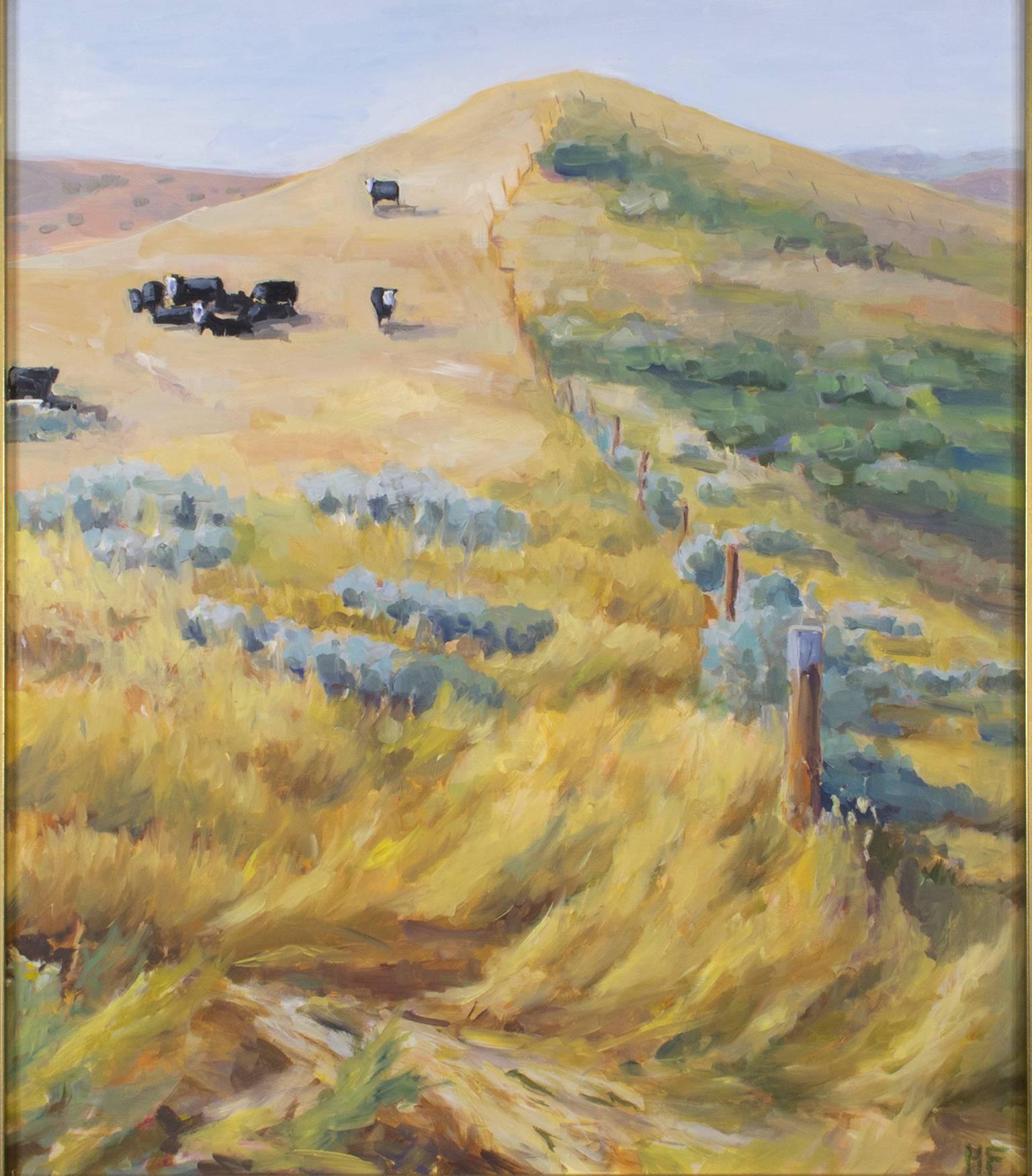 """Sheridan Herd,"" Oil on Masonite Landscape signed by Heather Foster"