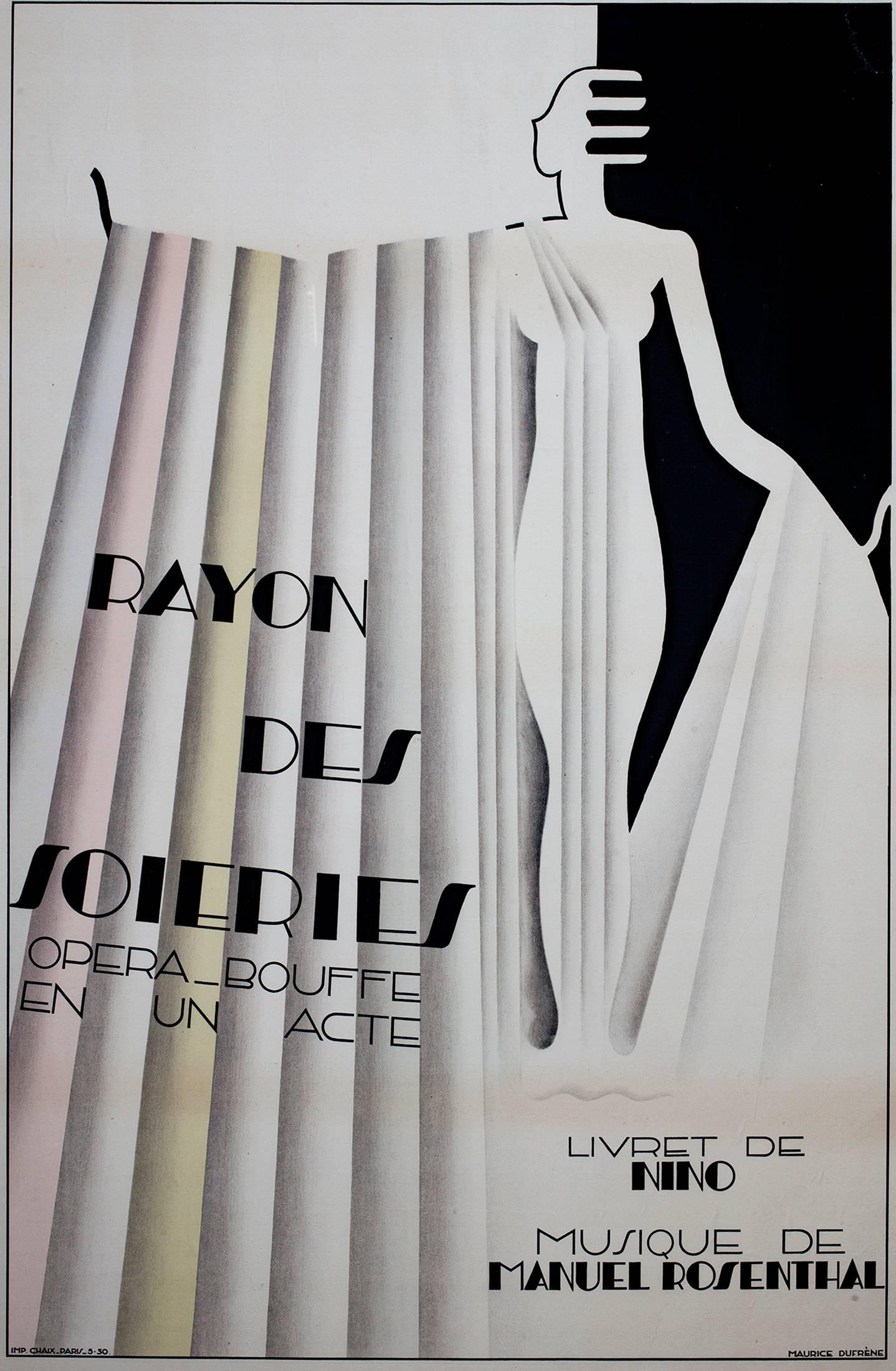 """Rayon des Soieries, Opera Bouffe en un Acte,"" Original Lithograph by M. Dufrêne"