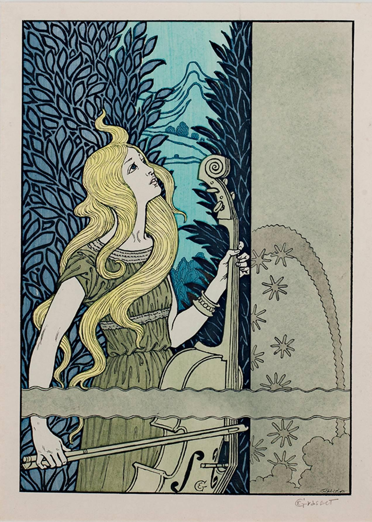 """""""Woman with Cello,"""" Wood Engraving signed by Gillot after Eugene Grasset"""