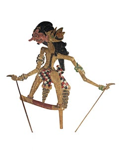 """""""Shadow Puppet (flat) Wayang Klitik,"""" Leather & Wood created in Indonesia"""