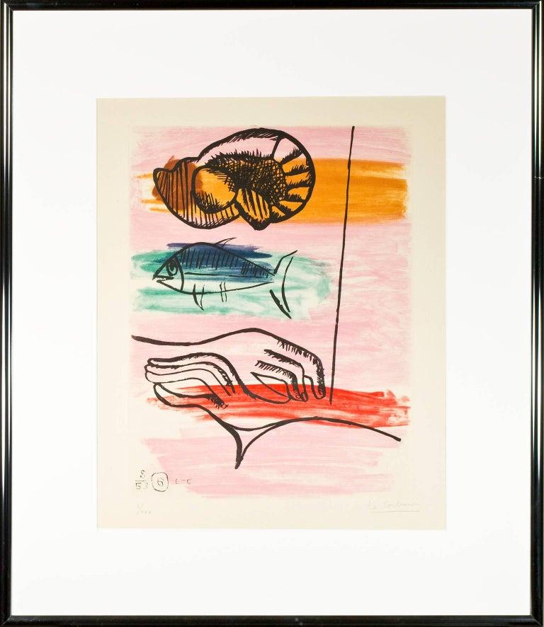 The Catch (Les Mains du Pecheur) - White Animal Print by Le Corbusier