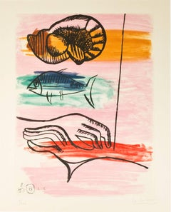"""The Catch (Les Mains du Pecheur),"" Color Aquatint signed by Le Corbusier"