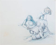 """""""Three Figures with Pig Balloon,"""" Pencil Drawing signed by Thomas Smith"""