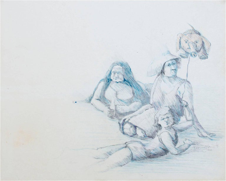 """Three Figures with Pig Balloon"" is an original pencil drawing by Thomas Smith. It depicts three lounging figures lounging with a balloon. One figure appears to be a nun holding a bottle of alcohol, one is a woman without her legs, and the final"