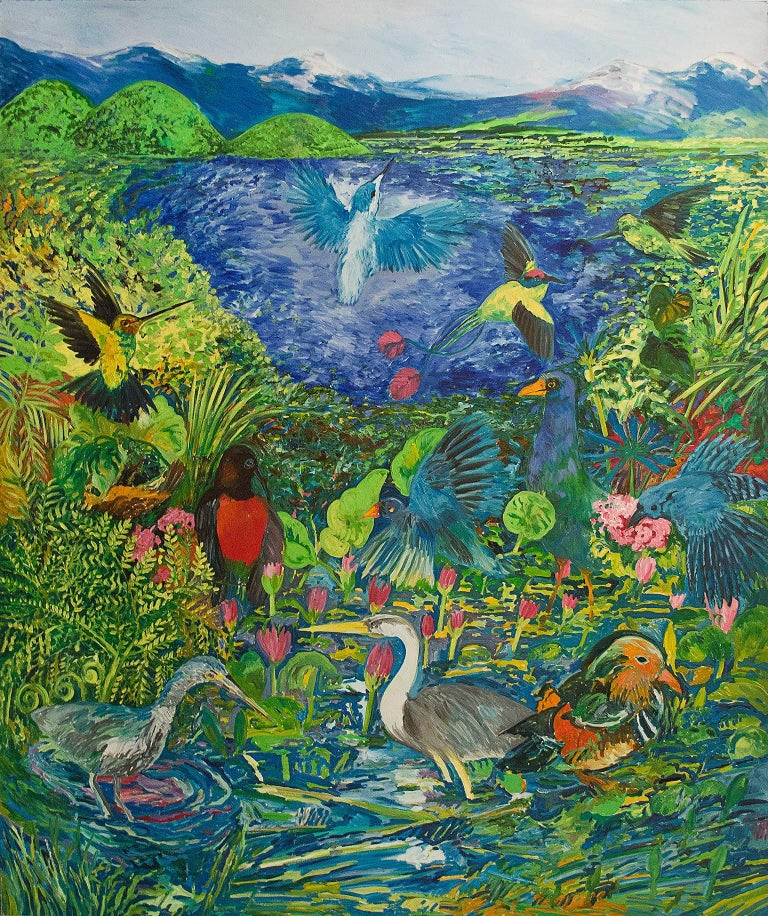 """To Eternity"" is an original oil painting on canvas by Hunt Slonem. The artist signed the piece on the back of the canvas. It depicts a number of exotic birds in a tropical and lush oasis. The colors are bright and the brushstrokes are expressive,"