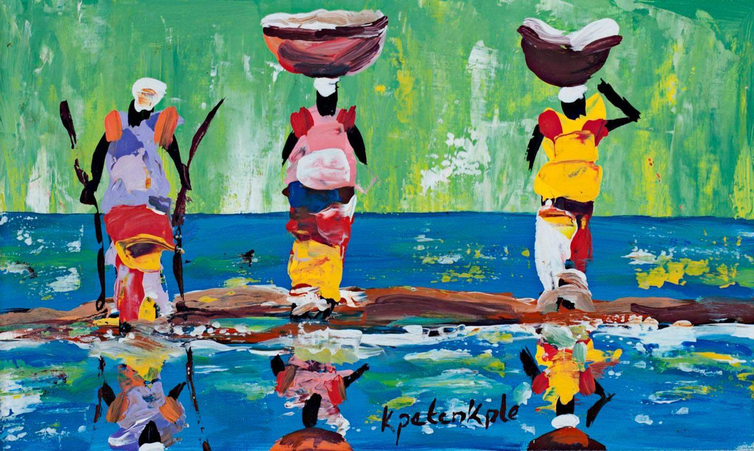 """""""Reflection,"""" Acrylic on Paper signed by Samuel B. Kpetenkple"""
