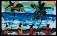 """Dancing on the Sandy Beach of the S. Atlantic Shore, Ghana, Africa,"" Acrylic"