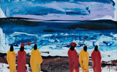 """""""Watching the Whitecaps on the South Atlantic Shore, Ghana, Africa,"""" Acrylic"""